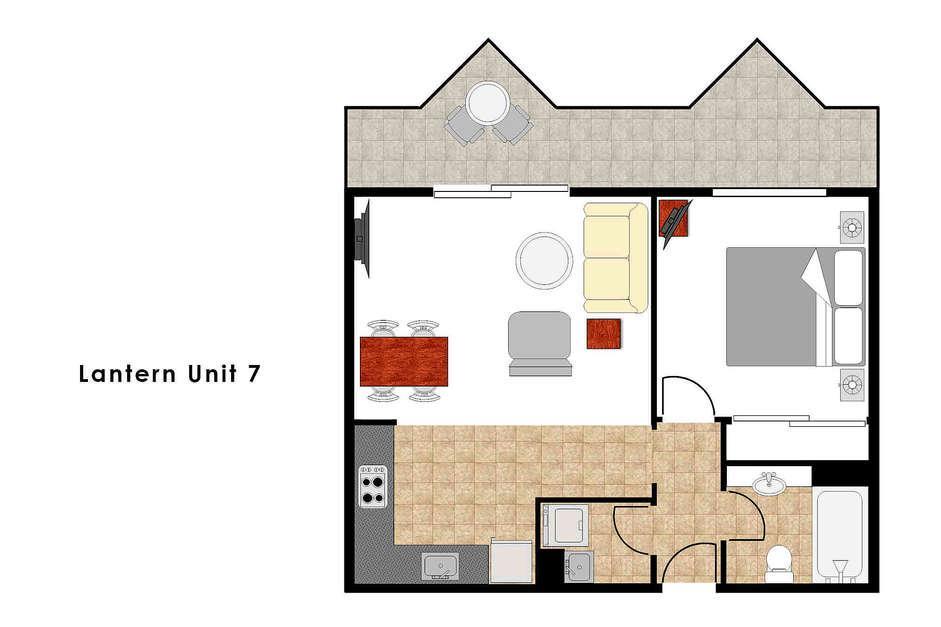 Lantern 7, 1 Bedroom Apartment with Balcony