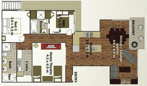 Peak Apartment 4 Layout